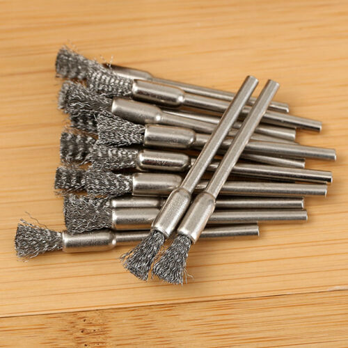 10x 3mm Rotary Steel Wire Wheel Brush Cup Tool Shank for Drills Rust Weld T6V5 5
