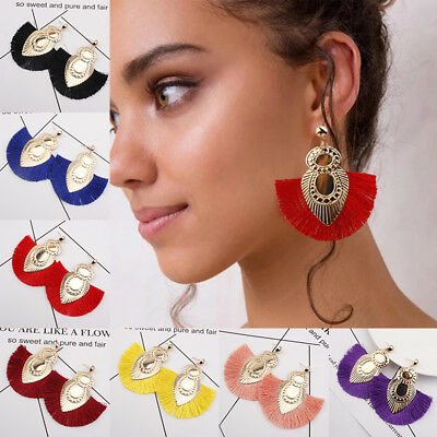 Fashion Women Bohemian Long Tassel Fringe Boho Ear Stud Dangle Earrings Jewelry 12