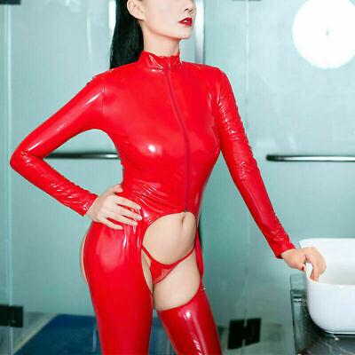 Sexy Wet Look Latexoptik Catsuit Overall Bodysuit Langarm Reißverschluss Dessous 7