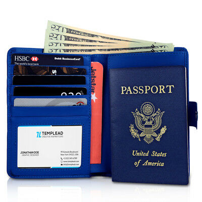 RFID Blocking Passport Holder Travel Wallet Leather Case Cover Securely Holds US 4