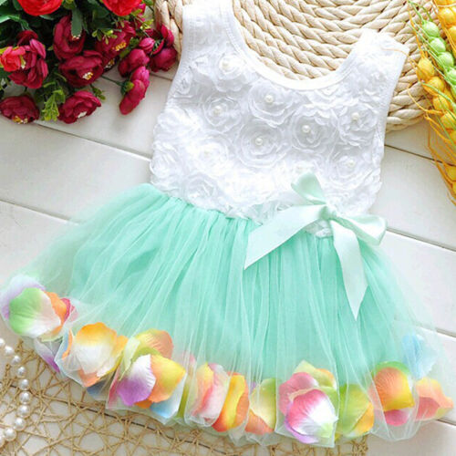 Newborn Flower Pageant Princess Dress Baby Girl Wedding Party Tutu Dresses 6-24M 7