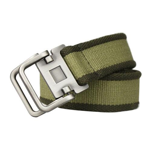 Men's Canvas Striped Fashion Style Double Loop Buckle Waist Strap Belt