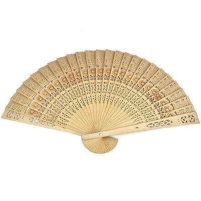 Wedding Hand Fragrant Party Carved Bamboo Folding Fan Chinese Wooden Fan U xlVX