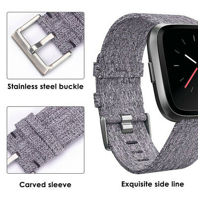 Replacement Woven Canvas Nylon Band Strap Wristband For Fitbit Versa Watch