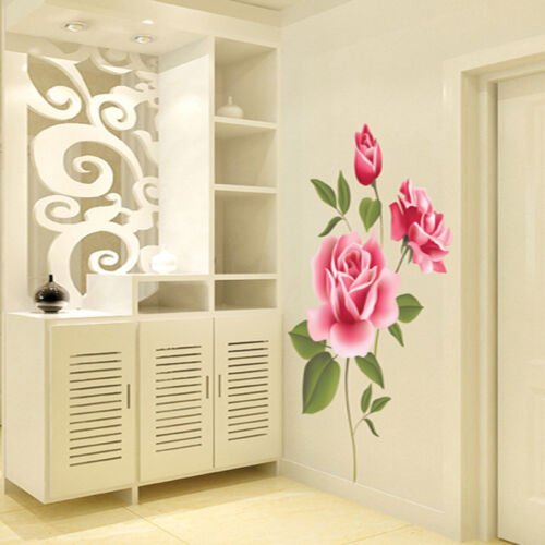 rosa rose blumen wandsticker aufkleber vinyl kunst home zimmer dekor abnehmbar eur 2 38. Black Bedroom Furniture Sets. Home Design Ideas