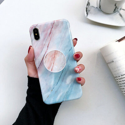 CHIC Marble Put Up Holder Soft Case Cover For iPhone X XR XS Max 8 Plus 7 6s 6 8