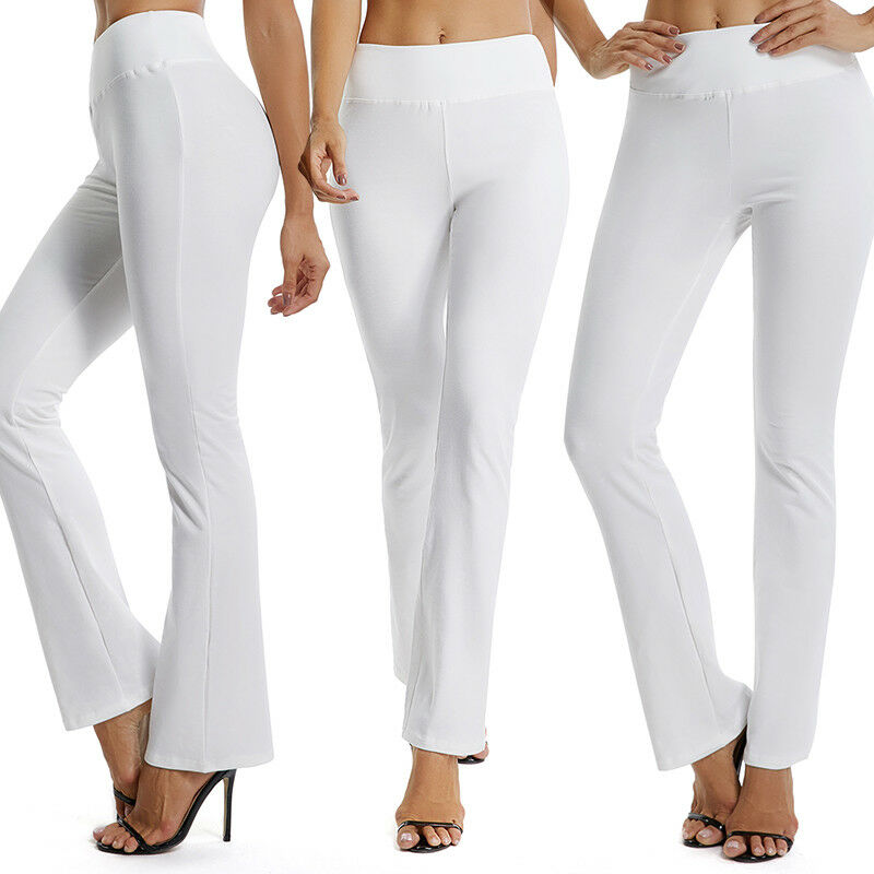 e69d88af32 USA Womens Flare Wide Leggings Yoga Pants Cotton Stretch Full Length S-XL  X142 7 7 of 12 See More