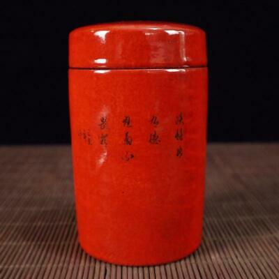 Chinese old Handmade painting red flowers and birds porcelain Tea caddy pot 3