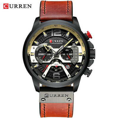 CURREN Casual Sport Watches for Men Blue Top Brand Luxury Military Leather Wrist 4