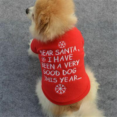 Cute Dog Puppy Christmas Santa Warm Costumes Coat Clothes Pet Apparel Shirt US 9