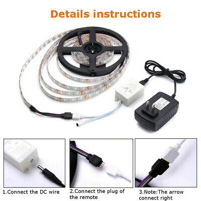 LED Strip Light 5050SMD RGB 5M 300 Waterproof 12V IR Controller W/ Power Adaptor 6