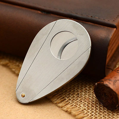 Silver Stainless Steel Double Blades Cigar Cutter/Guillotine Cigar Tool