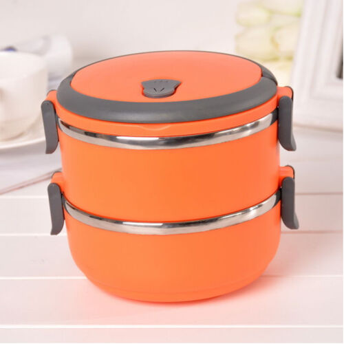 stainless thermo insulated thermal food container bento round lunch box 1 3layer. Black Bedroom Furniture Sets. Home Design Ideas