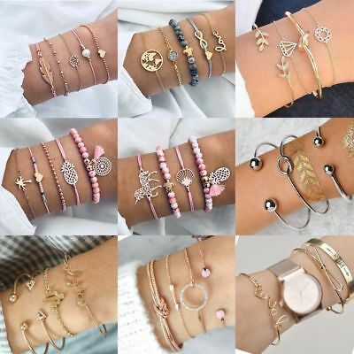 Women Stainless Steel Open Cuff Bracelet Bangle Chain Wristband Jewelry Gift New 10