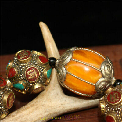 """4.72"""" Chinese Exquisite pure copper Turquoise Beeswax Handmade beads Bracelet 3"""