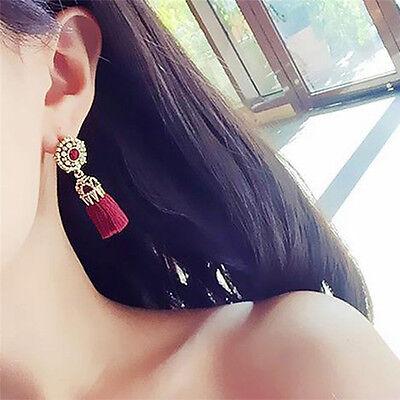 Women Thread Long Tassel Earrings Rhinestone Drop Statement Fringe Earrings 7