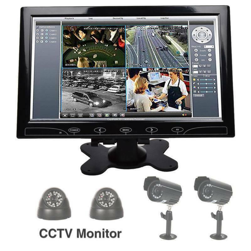 "10"" Inch TFT LED Screen CCTV Surveillance Monitor AV/VGA/HDMI Input & Speaker UK 4"