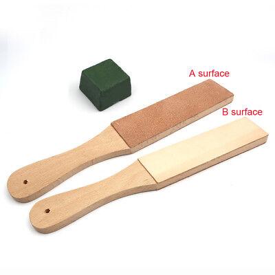 USA Dual Sided Leather Blade Strop Razor Sharpener&Polishing Compounds 2