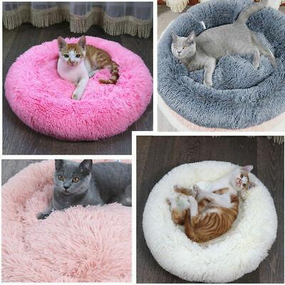 Pet Dog Cat Calming Bed Round Nest Warm Soft Plush Comfortable Self Sleeping Mat 2