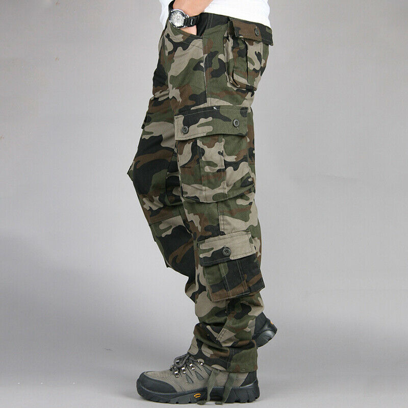 Mens Military Combat Trousers Camouflage Cargo Camo Army Casual Work Long Pants 6