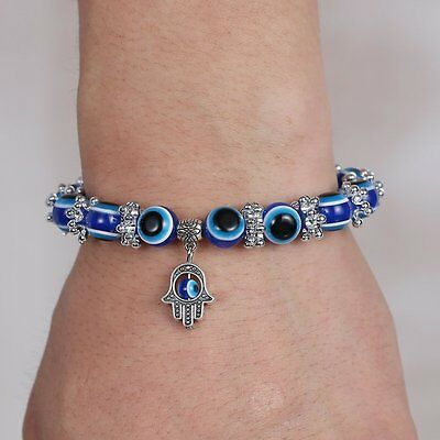 Fashion Blue Evil Eye Bead Protection Good Luck Bracelet Turkish Hand Bangle Hot 3