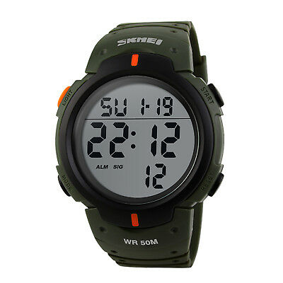 Men's Digital Sports Watch LED Screen Large Face Military Waterproof Watches 2