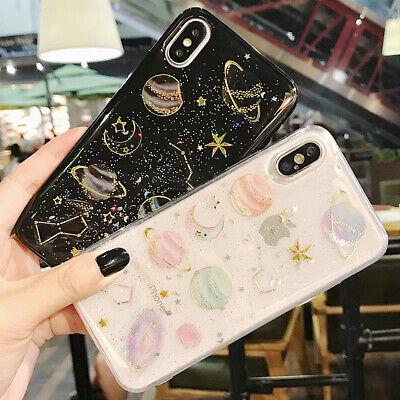 Phone Case For iPhone 6 6S 7 8 Plus Shockproof Cute Planet Moon Star Case Cover 3
