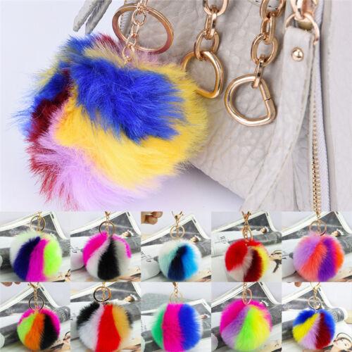 Charm Key Ring Rabbit Fur Ball PomPom Cell Phone Car Keychain Pendant Handbag EF 2