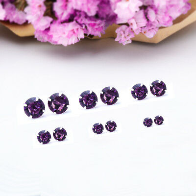 Fashion Woman Silver Plated Round Cubic Zirconia Crystal Stud Earrings Jewelry 10
