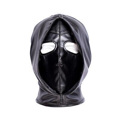 PU Leather Slave Restraint Head Mask Fetish Hood Zipper BDSM Sexy Adult Bondage 2