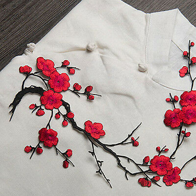 Lovely Embroidered Plum Blossom Flower Patch Iron//Sew on Applique Motif CrDOL