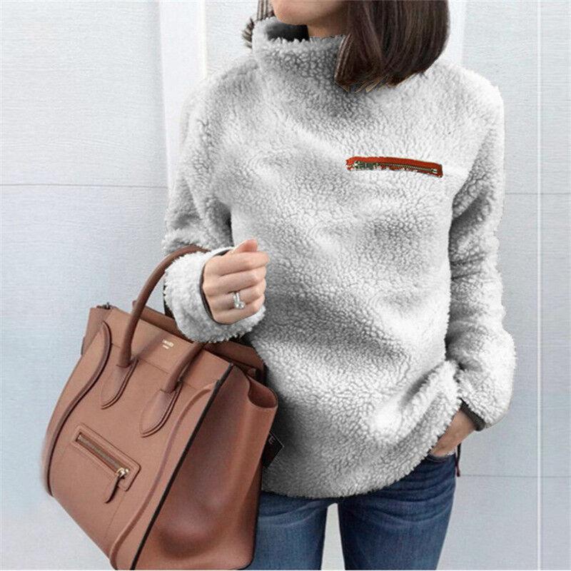 Women Fleece Fur Sweater Plus Size Long Sleeve Baggy Winter Tops Jumper Pullover 7