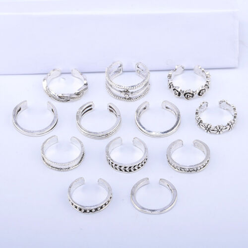 12PCs/set Adjustable Jewelry Retro Silver Open Toe Ring Finger Foot Rings New 4