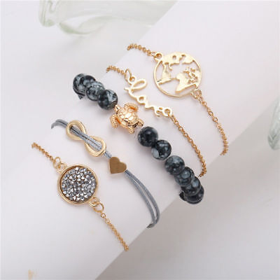 Fashion Women Jewelry Set Rope Natural Stone Beaded Chain Alloy Bracelets Gifts 12