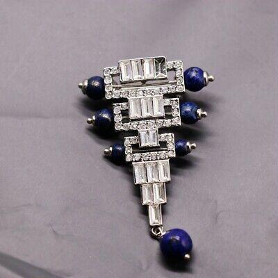 Broche Argenté Art Déco Triangle Perle Lapis Lazuli Bleu Plaqué Argent 925 QD6 4