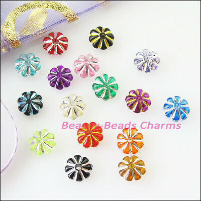 150Pcs Gold Silver Line Acrylic Plastic Mixed Flower Spacer Beads Charms 7mm 4