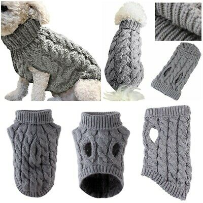 Pet Cat Dog Sweater Warm Dog Coat Jumpers Hoodie Cat Clothes for Puppy Small UK 4