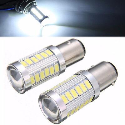 2PCS Bianco BA15D 33SMD LED 1157 Auto Coda Freno Stop Coda Lampadina Globo 12v 3