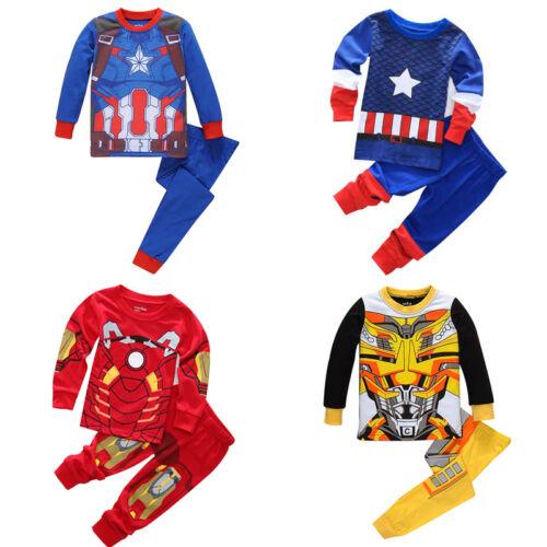Kinder Jungen Mädchen Superheld Langarm Schlafanzug Nachtwäsche Loungwear Neu