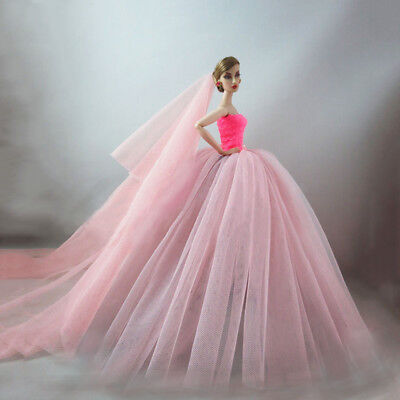"Pink Party Dresses Long Tail Evening Gown Clothes For 11.5"" Doll Wedding Dress 2"