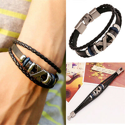 Brilliant  Punk Unisex Women Men Wristband Metal Studded Leather Bracelet 2