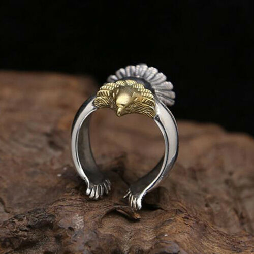 Women Ring Silver Color Long Angel Eagle Bird Wing Adjustable Band Jewelry RU 7
