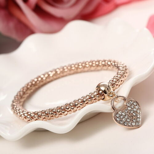 Fashion Women 3Pcs Gold Silver Rose Gold Bracelets Set Rhinestone Bangle Jewelry 7