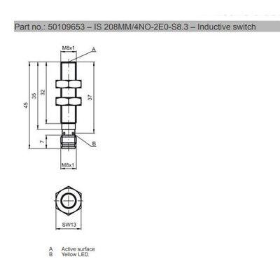 LEUZE IS 208MM/4NO-2E0-S8 3 50109653 Inductive Sensor M8 pnp NO 000985