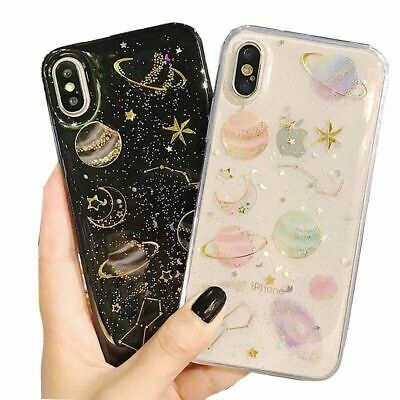 Phone Case For iPhone 6 6S 7 8 Plus Shockproof Cute Planet Moon Star Case Cover 9