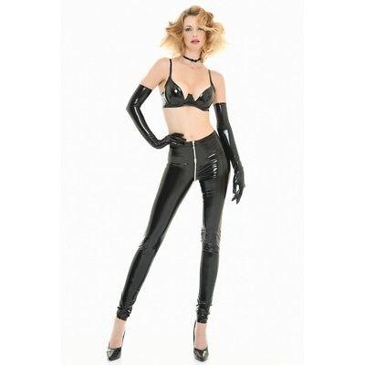 Catanzaro - S.Legging - Leggings ouvert par zip sexy moulant en vinyle noir 3