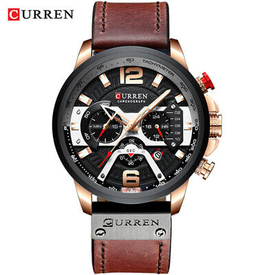 CURREN Casual Sport Watches for Men Blue Top Brand Luxury Military Leather Wrist 3