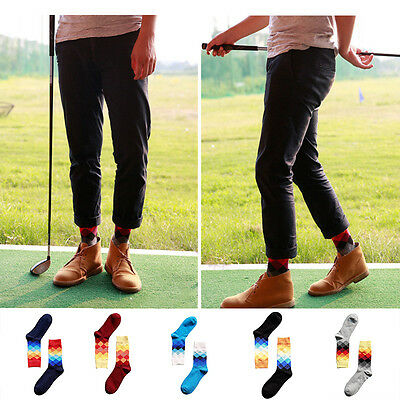 Fashion Mens Cotton Happy Socks Warm Colorful Diamond Casual  Dress Socks New 2