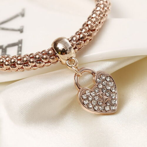 Fashion Women 3Pcs Gold Silver Rose Gold Bracelets Set Rhinestone Bangle Jewelry 9