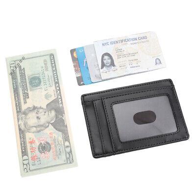 New Genuine Leather Slim Card Holder Wallets For Men - Minimalist RFID Blocking 9